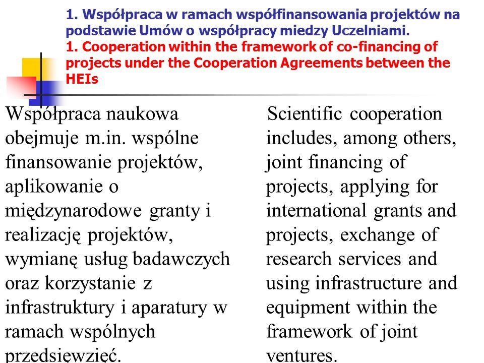 1. Współpraca w ramach współfinansowania projektów na podstawie Umów o współpracy miedzy Uczelniami. 1. Cooperation within the framework of co-financi