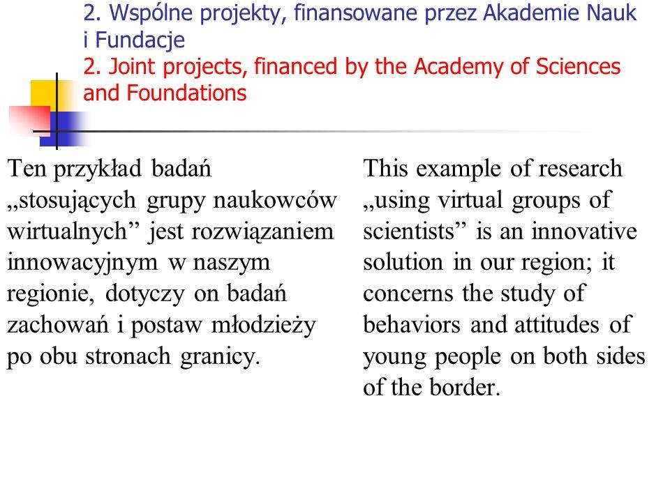 2. Wspólne projekty, finansowane przez Akademie Nauk i Fundacje 2. Joint projects, financed by the Academy of Sciences and Foundations Ten przykład ba
