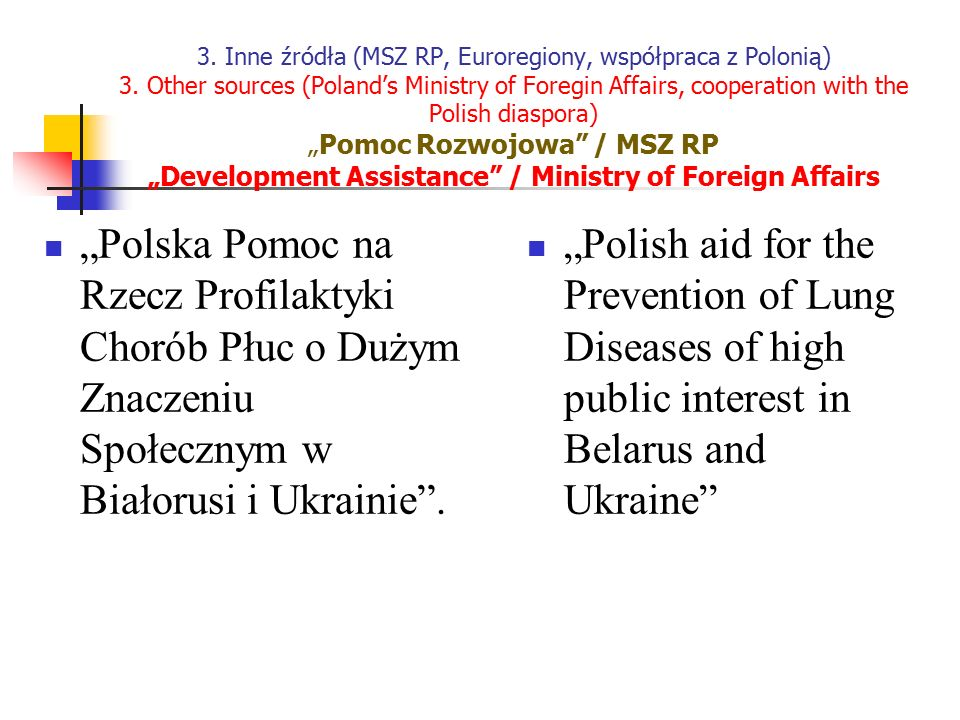 3. Inne źródła (MSZ RP, Euroregiony, współpraca z Polonią) 3. Other sources (Poland's Ministry of Foregin Affairs, cooperation with the Polish diaspor