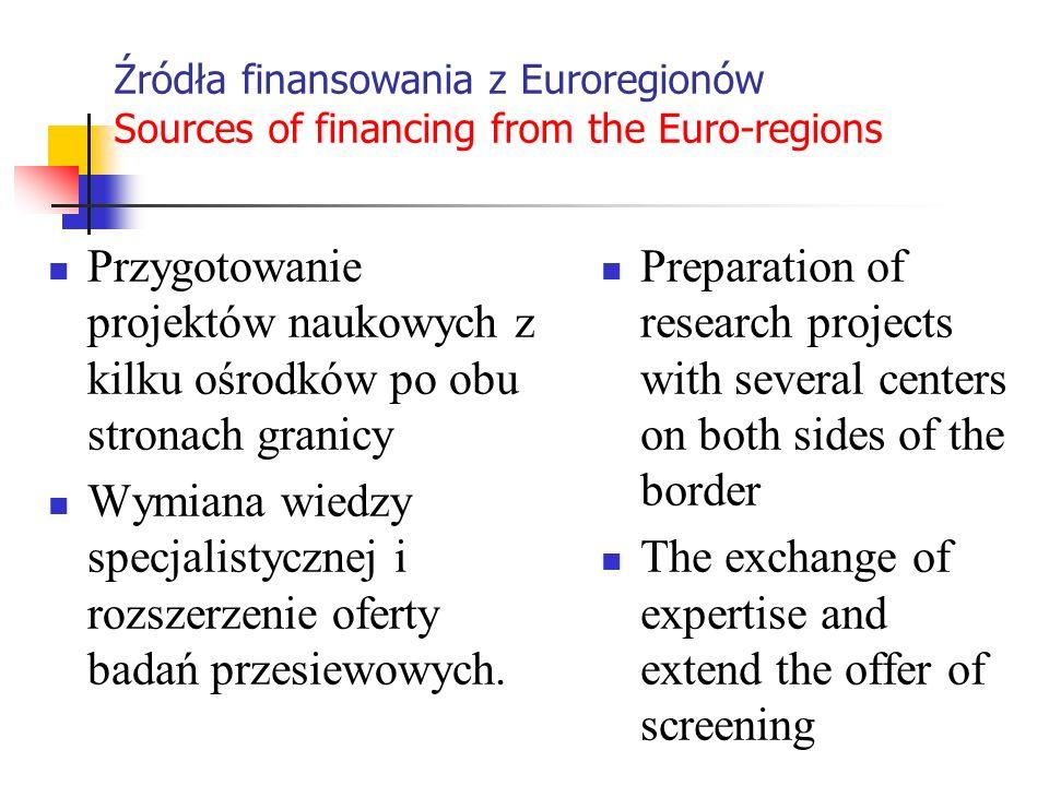 Źródła finansowania z Euroregionów Sources of financing from the Euro-regions Przygotowanie projektów naukowych z kilku ośrodków po obu stronach grani