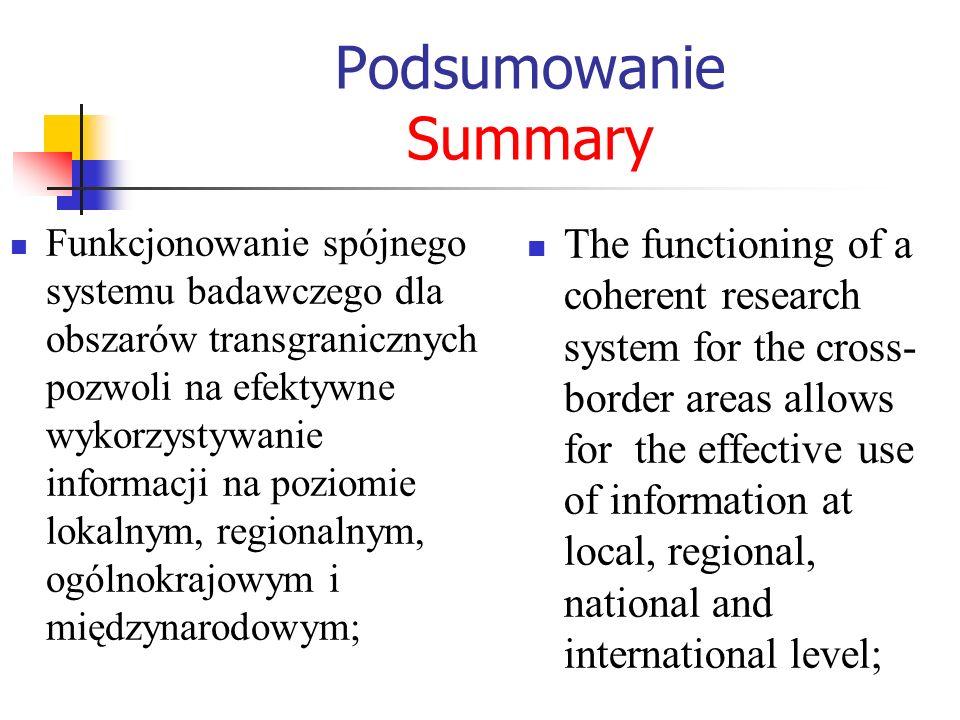 Podsumowanie Summary Funkcjonowanie spójnego systemu badawczego dla obszarów transgranicznych pozwoli na efektywne wykorzystywanie informacji na pozio