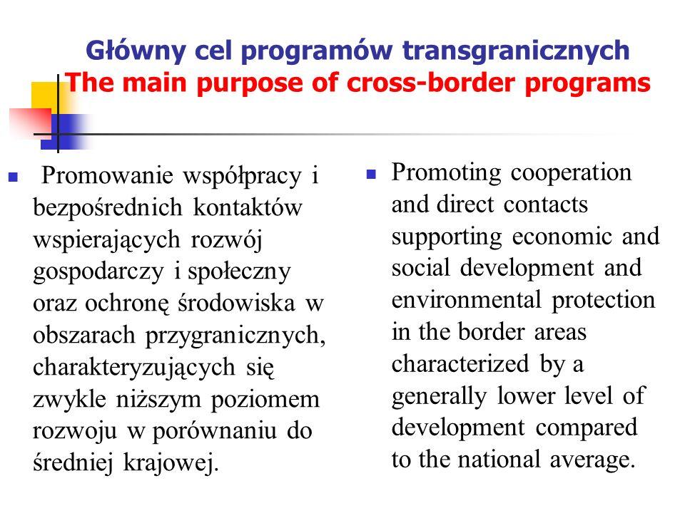 Główny cel programów transgranicznych The main purpose of cross-border programs Promowanie współpracy i bezpośrednich kontaktów wspierających rozwój g