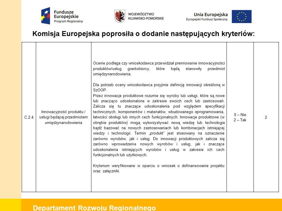 Departament Rozwoju Regionalnego Komisja Europejska poprosiła o dodanie następujących kryteriów: C.2.4 Innowacyjność produktu / usługi będącej przedmiotem umiędzynarodowienia Ocenie podlega czy wnioskodawca przewidział premiowanie innowacyjności produktów/usług grantobiorcy, które będą stanowiły przedmiot umiędzynarodowienia.