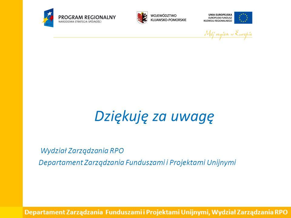 Dziękuję za uwagę Wydział Zarządzania RPO Departament Zarządzania Funduszami i Projektami Unijnymi Departament Zarządzania Funduszami i Projektami Uni