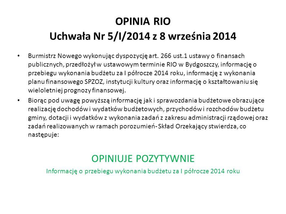 OPINIA RIO Uchwała Nr 5/I/2014 z 8 września 2014 Burmistrz Nowego wykonując dyspozycję art.