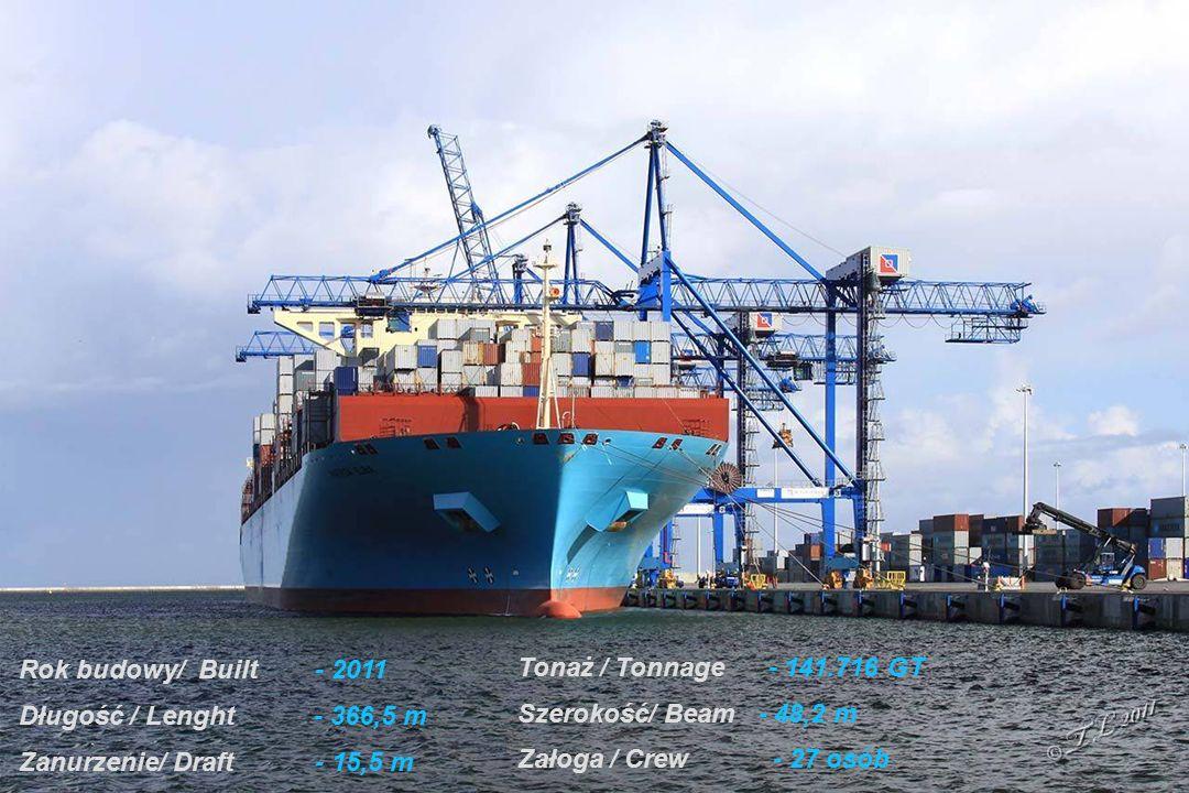 Statek z grupy największych i najnowocześniejszych kontenerowców na świecie
