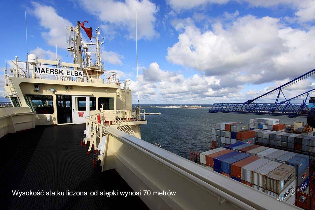 Wysokość statku liczona od stępki wynosi 70 metrów