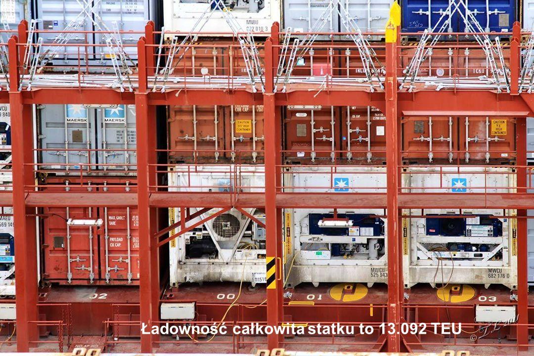 W 10 ładowniach pod pokładem mieści się 7.000 TEU (TEU: twenty-feet equivalent unit - równoważna objętość kontenera 20 stopowego)