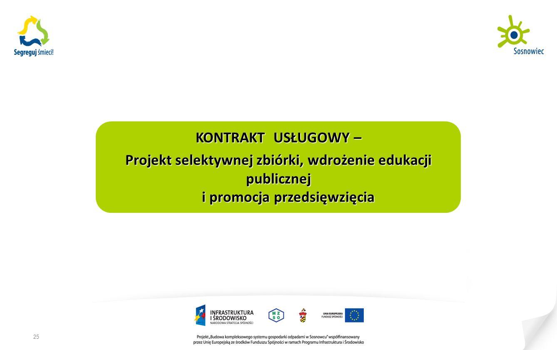 KONTRAKT USŁUGOWY – Projekt selektywnej zbiórki, wdrożenie edukacji publicznej i promocja przedsięwzięcia 25