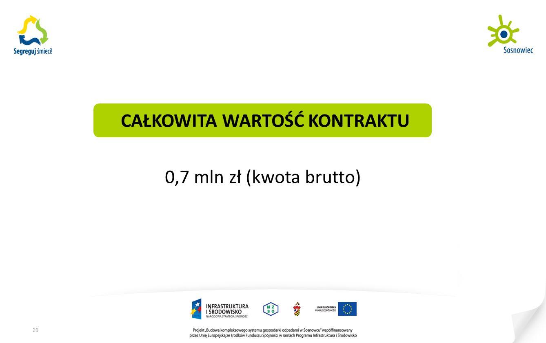 CAŁKOWITA WARTOŚĆ KONTRAKTU 0,7 mln zł (kwota brutto) 26