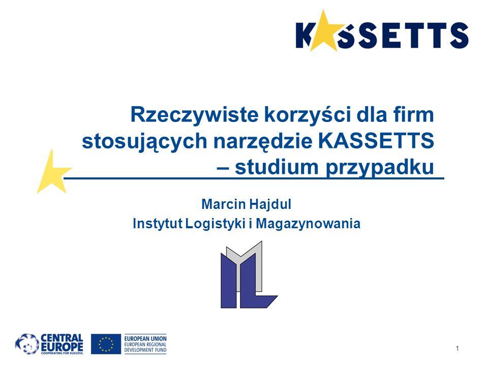 1 Rzeczywiste korzyści dla firm stosujących narzędzie KASSETTS – studium przypadku Marcin Hajdul Instytut Logistyki i Magazynowania