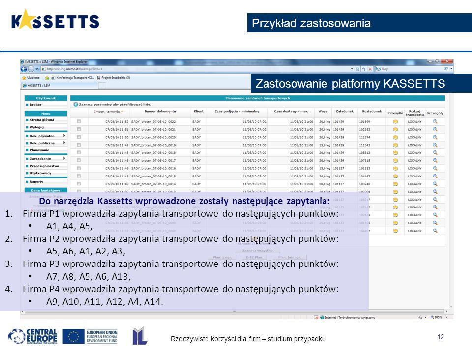 Rzeczywiste korzyści dla firm – studium przypadku 12 Przykład zastosowania Do narzędzia Kassetts wprowadzone zostały następujące zapytania: 1.Firma P1 wprowadziła zapytania transportowe do następujących punktów: A1, A4, A5, 2.Firma P2 wprowadziła zapytania transportowe do następujących punktów: A5, A6, A1, A2, A3, 3.Firma P3 wprowadziła zapytania transportowe do następujących punktów: A7, A8, A5, A6, A13, 4.Firma P4 wprowadziła zapytania transportowe do następujących punktów: A9, A10, A11, A12, A4, A14.