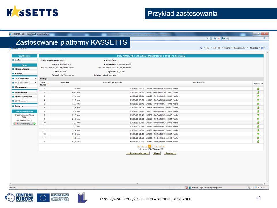 Rzeczywiste korzyści dla firm – studium przypadku 13 Przykład zastosowania Zastosowanie platformy KASSETTS