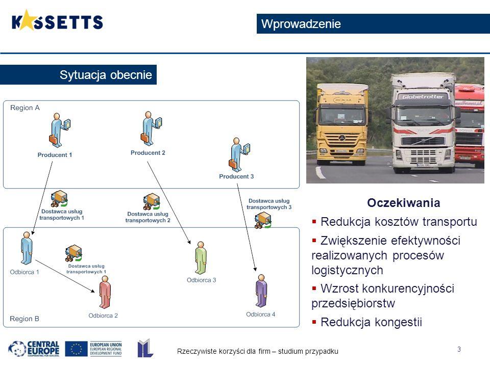 Rzeczywiste korzyści dla firm – studium przypadku 3 Wprowadzenie Sytuacja obecnie Oczekiwania  Redukcja kosztów transportu  Zwiększenie efektywności realizowanych procesów logistycznych  Wzrost konkurencyjności przedsiębiorstw  Redukcja kongestii