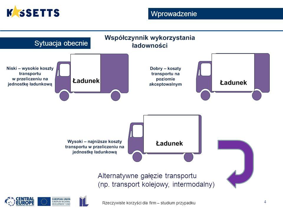 Rzeczywiste korzyści dla firm – studium przypadku 4 Wprowadzenie Alternatywne gałęzie transportu (np.