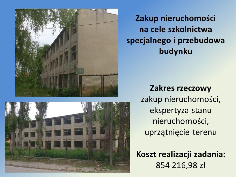 Zakup nieruchomości na cele szkolnictwa specjalnego i przebudowa budynku Zakres rzeczowy zakup nieruchomości, ekspertyza stanu nieruchomości, uprzątni