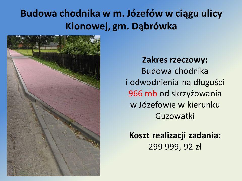 Budowa chodnika w m. Józefów w ciągu ulicy Klonowej, gm.