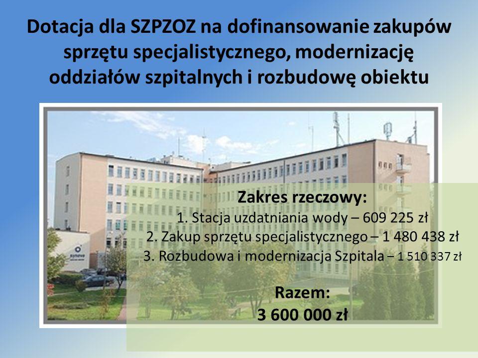 Dotacja dla SZPZOZ na dofinansowanie zakupów sprzętu specjalistycznego, modernizację oddziałów szpitalnych i rozbudowę obiektu Zakres rzeczowy: 1. Sta