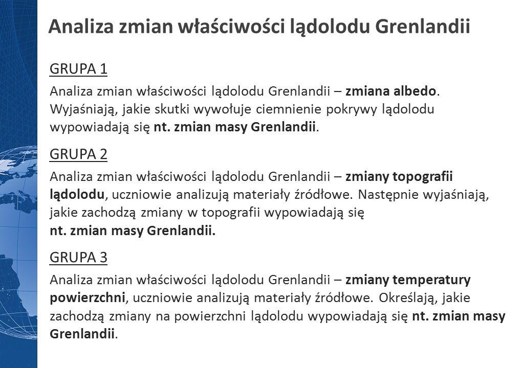 Analiza zmian właściwości lądolodu Grenlandii GRUPA 1 Analiza zmian właściwości lądolodu Grenlandii – zmiana albedo.