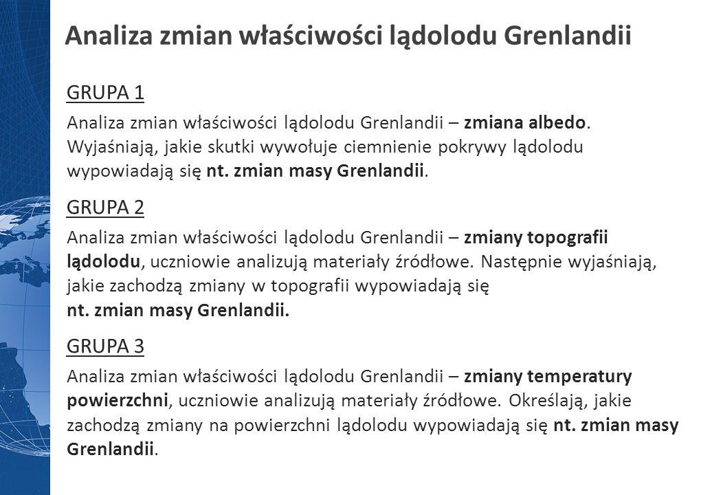 Analiza zmian właściwości lądolodu Grenlandii GRUPA 1 Analiza zmian właściwości lądolodu Grenlandii – zmiana albedo. Wyjaśniają, jakie skutki wywołuje