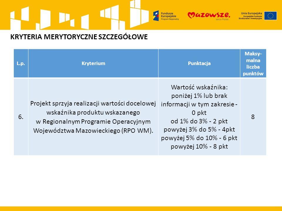 L.p.KryteriumPunktacja Maksy- malna liczba punktów 6. Projekt sprzyja realizacji wartości docelowej wskaźnika produktu wskazanego w Regionalnym Progra