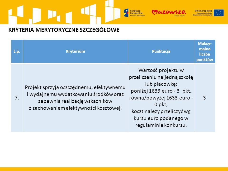 L.p.KryteriumPunktacja Maksy- malna liczba punktów 7. Projekt sprzyja oszczędnemu, efektywnemu i wydajnemu wydatkowaniu środków oraz zapewnia realizac