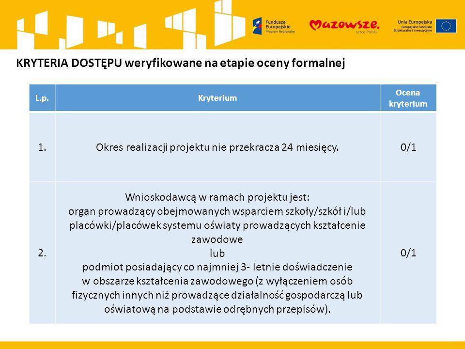 L.p.Kryterium Ocena kryterium 1.Okres realizacji projektu nie przekracza 24 miesięcy. 0/1 2. Wnioskodawcą w ramach projektu jest: organ prowadzący obe