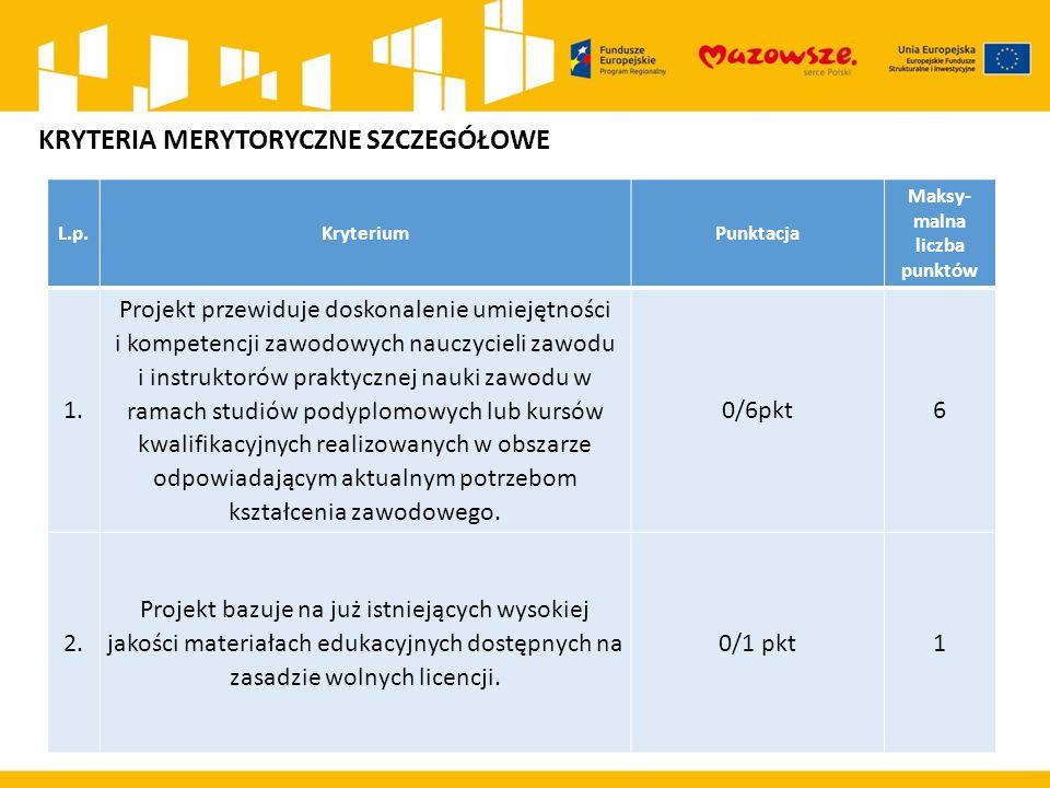 L.p.KryteriumPunktacja Maksy- malna liczba punktów 1. Projekt przewiduje doskonalenie umiejętności i kompetencji zawodowych nauczycieli zawodu i instr