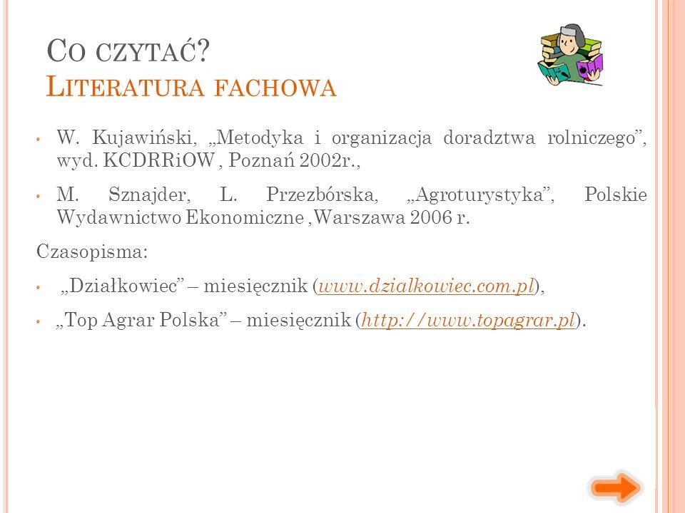 """W. Kujawiński, """"Metodyka i organizacja doradztwa rolniczego"""", wyd. KCDRRiOW, Poznań 2002r., M. Sznajder, L. Przezbórska, """"Agroturystyka"""", Polskie Wyda"""