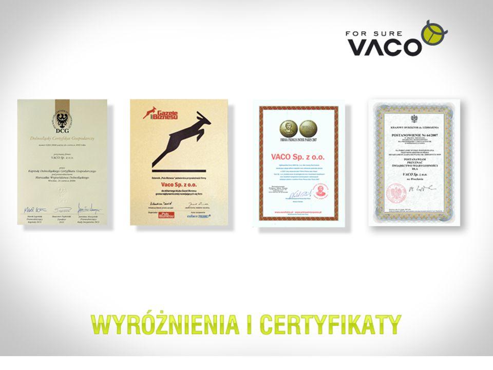 VACO FIRMA Z TRADYCJĄ I DOŚWIADCZENIEM 1997 – Powstanie firmy 2002 - Pierwsze kontrakty na rynku profesjonalnym DDD.