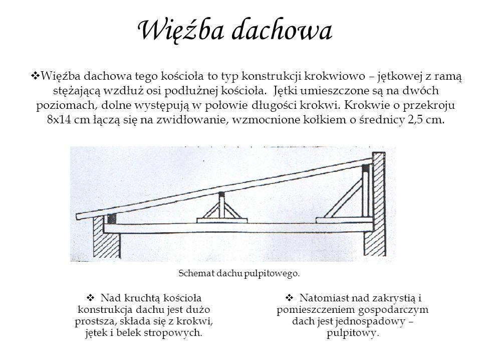 Konstrukcja dachu nad nawą i prezbiterium.