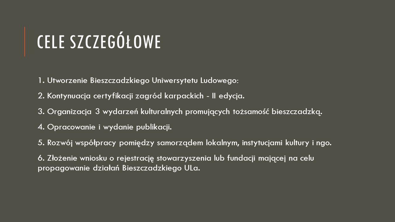 CELE SZCZEGÓŁOWE 1. Utworzenie Bieszczadzkiego Uniwersytetu Ludowego: 2. Kontynuacja certyfikacji zagród karpackich - II edycja. 3. Organizacja 3 wyda
