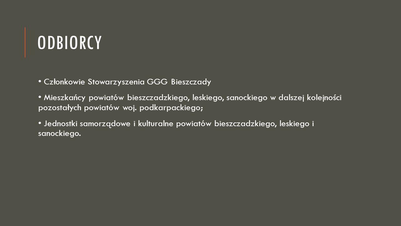 ODBIORCY Członkowie Stowarzyszenia GGG Bieszczady Mieszkańcy powiatów bieszczadzkiego, leskiego, sanockiego w dalszej kolejności pozostałych powiatów