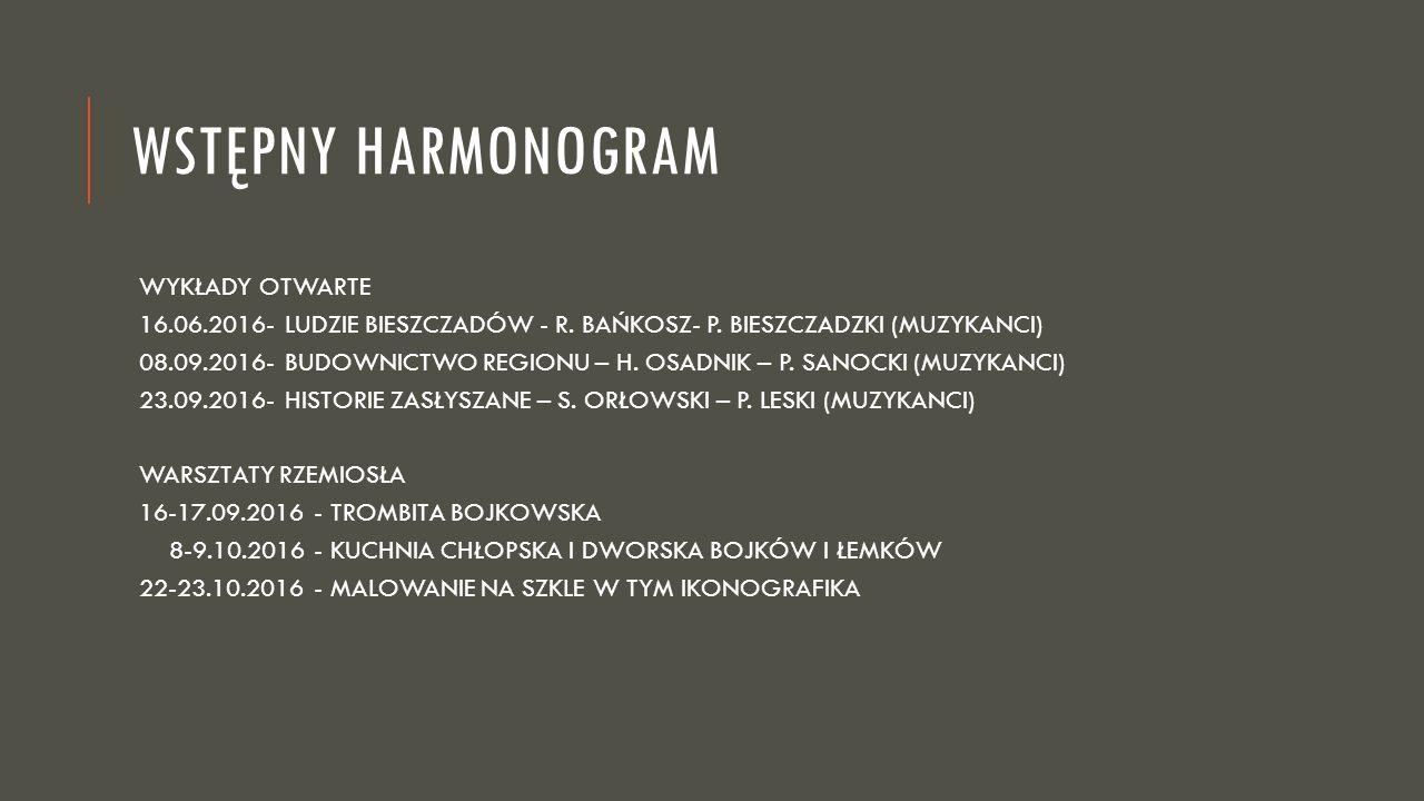 WSTĘPNY HARMONOGRAM WYKŁADY OTWARTE 16.06.2016- LUDZIE BIESZCZADÓW - R.