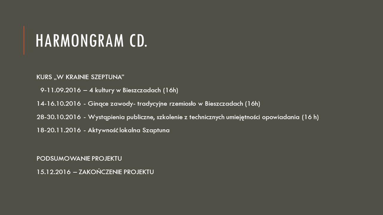 """HARMONGRAM CD. KURS """"W KRAINIE SZEPTUNA"""" 9-11.09.2016 – 4 kultury w Bieszczadach (16h) 14-16.10.2016 - Ginące zawody- tradycyjne rzemiosło w Bieszczad"""