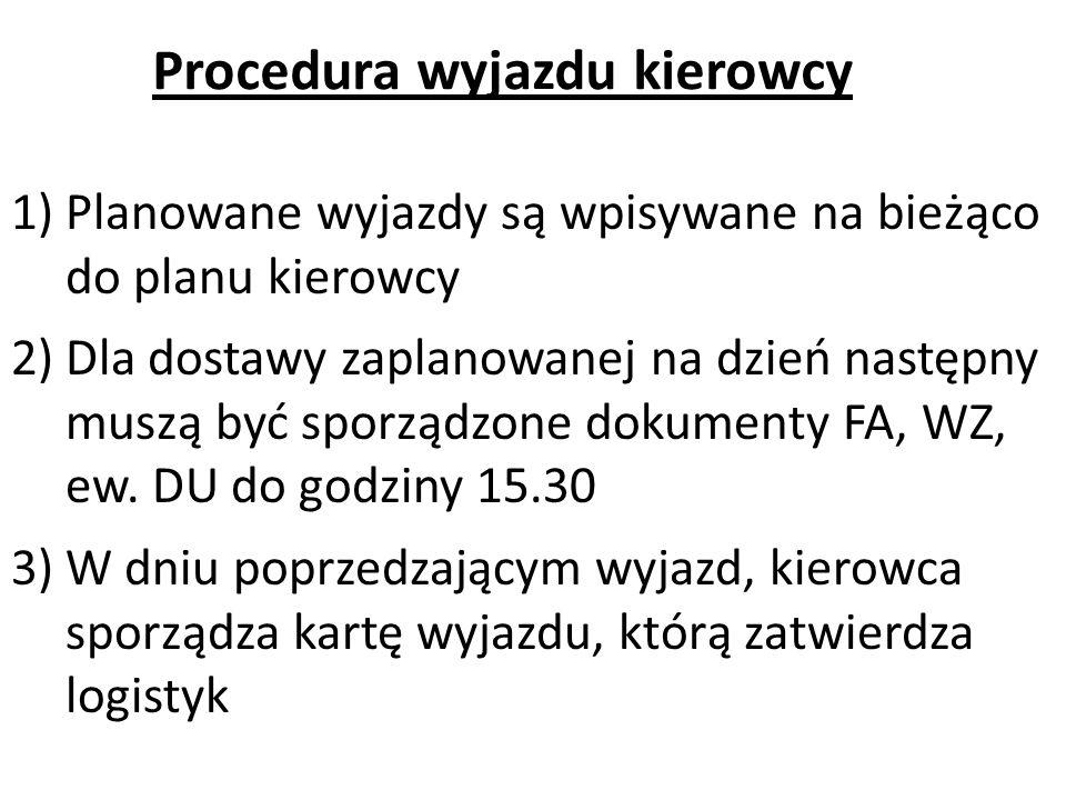 1)Planowane wyjazdy są wpisywane na bieżąco do planu kierowcy 2)Dla dostawy zaplanowanej na dzień następny muszą być sporządzone dokumenty FA, WZ, ew.
