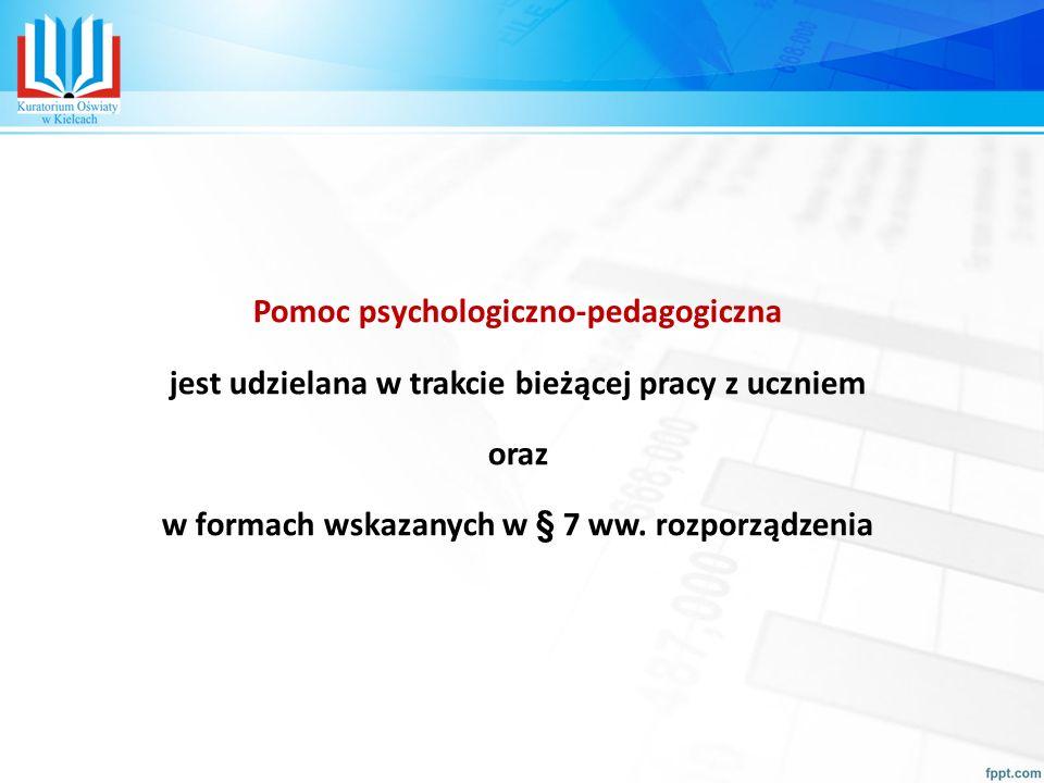 Pomoc psychologiczno-pedagogiczna jest udzielana w trakcie bieżącej pracy z uczniem oraz w formach wskazanych w § 7 ww.