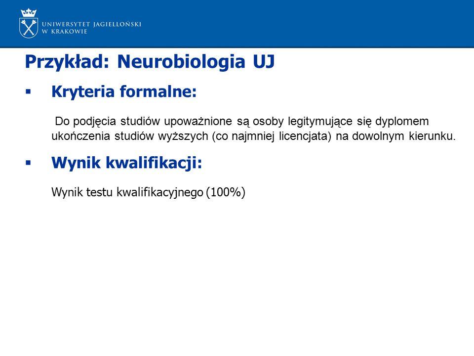 Przykład: Neurobiologia UJ  Kryteria formalne: Do podjęcia studiów upoważnione są osoby legitymujące się dyplomem ukończenia studiów wyższych (co najmniej licencjata) na dowolnym kierunku.