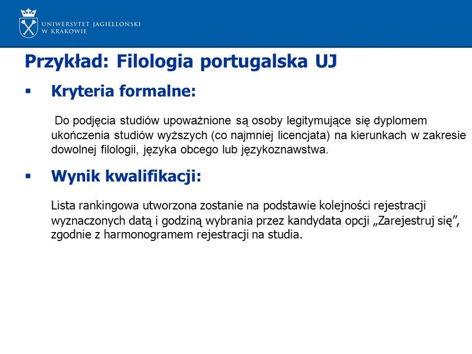 Przykład: Filologia portugalska UJ  Kryteria formalne: Do podjęcia studiów upoważnione są osoby legitymujące się dyplomem ukończenia studiów wyższych (co najmniej licencjata) na kierunkach w zakresie dowolnej filologii, języka obcego lub językoznawstwa.