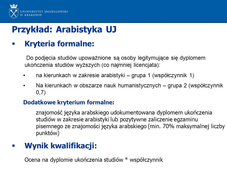 Przykład: Arabistyka UJ  Kryteria formalne: Do podjęcia studiów upoważnione są osoby legitymujące się dyplomem ukończenia studiów wyższych (co najmniej licencjata): na kierunkach w zakresie arabistyki – grupa 1 (współczynnik 1) Na kierunkach w obszarze nauk humanistycznych – grupa 2 (współczynnik 0,7) Dodatkowe kryterium formalne: znajomość języka arabskiego udokumentowana dyplomem ukończenia studiów w zakresie arabistyki lub pozytywne zaliczenie egzaminu pisemnego ze znajomości języka arabskiego (min.