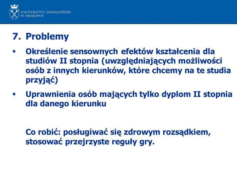 7.Problemy  Określenie sensownych efektów kształcenia dla studiów II stopnia (uwzględniających możliwości osób z innych kierunków, które chcemy na te