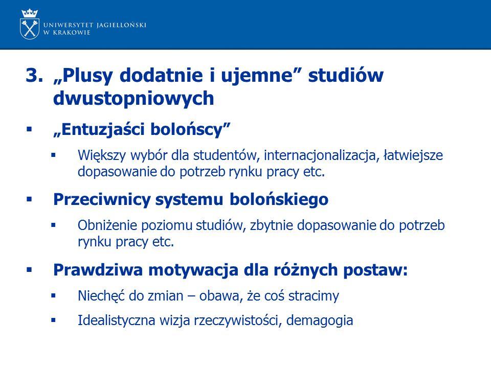 """3.""""Plusy dodatnie i ujemne"""" studiów dwustopniowych  """"Entuzjaści bolońscy""""  Większy wybór dla studentów, internacjonalizacja, łatwiejsze dopasowanie"""