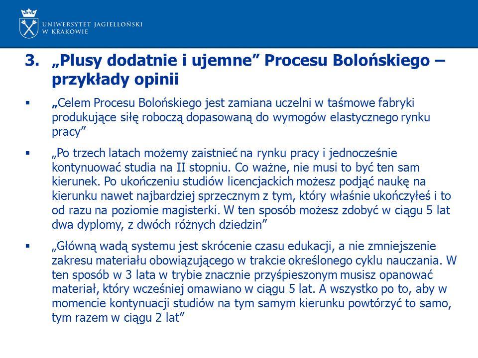 """3.""""Plusy dodatnie i ujemne"""" Procesu Bolońskiego – przykłady opinii  """"Celem Procesu Bolońskiego jest zamiana uczelni w taśmowe fabryki produkujące sił"""