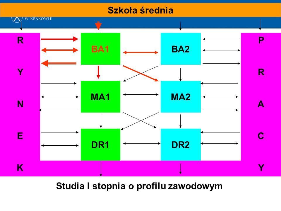 Szkoła średnia R BA1BA2 P YR MA1MA2 NA E DR1DR2 C KY Studia I stopnia o profilu zawodowym