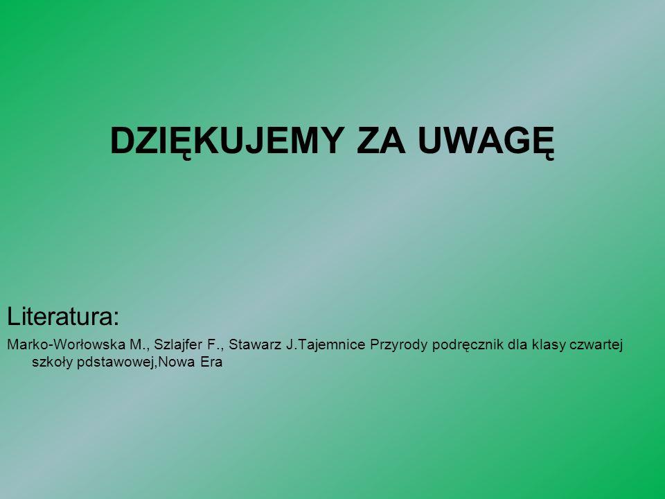 Literatura: Marko-Worłowska M., Szlajfer F., Stawarz J.Tajemnice Przyrody podręcznik dla klasy czwartej szkoły pdstawowej,Nowa Era DZIĘKUJEMY ZA UWAGĘ