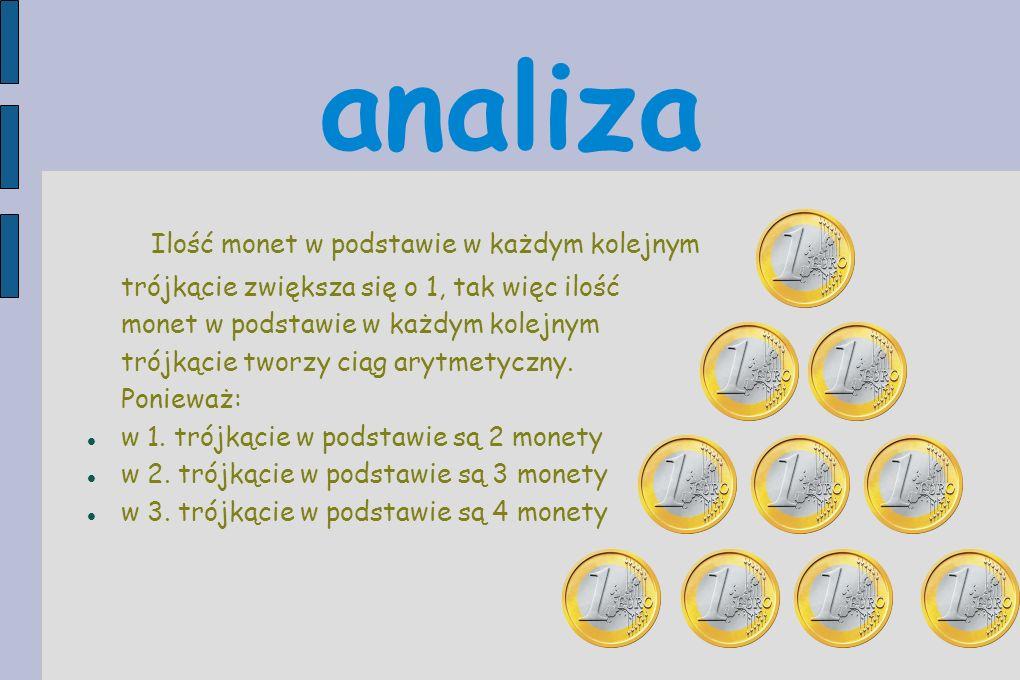 analiza Ilość monet w podstawie w każdym kolejnym trójkącie zwiększa się o 1, tak więc ilość monet w podstawie w każdym kolejnym trójkącie tworzy ciąg arytmetyczny.