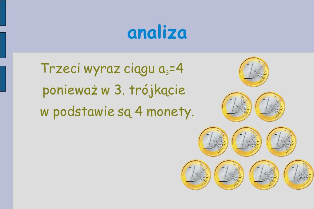 analiza Trzeci wyraz ciągu a 3 =4 ponieważ w 3. trójkącie w podstawie są 4 monety.