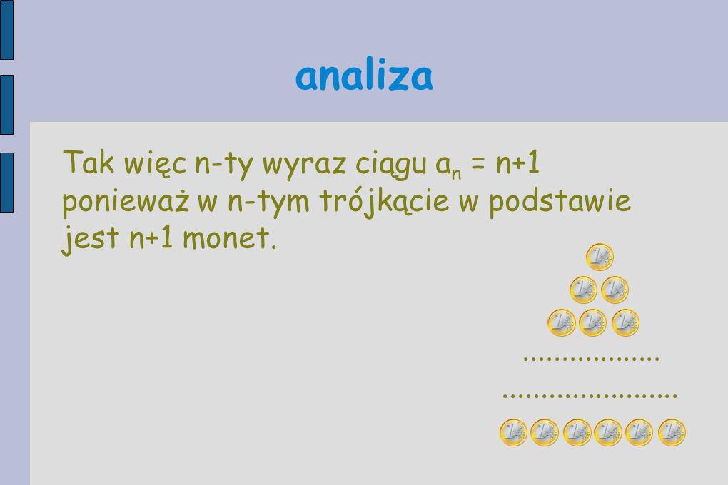 Tak więc n-ty wyraz ciągu a n = n+1 ponieważ w n-tym trójkącie w podstawie jest n+1 monet.......................................... analiza