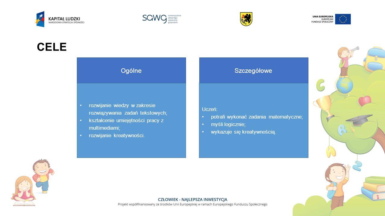 CELE Ogólne rozwijanie wiedzy w zakresie rozwiązywania zadań tekstowych; kształcenie umiejętności pracy z multimediami; rozwijanie kreatywności. Szcze
