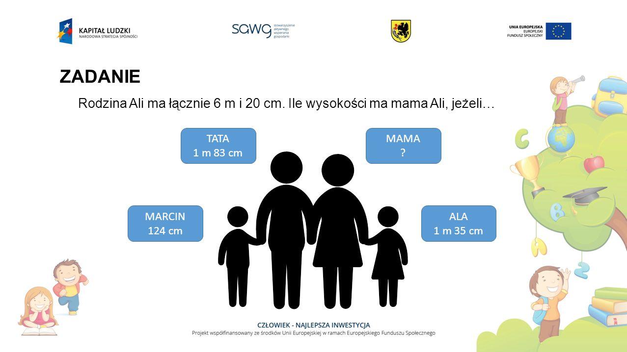 ZADANIE Rodzina Ali ma łącznie 6 m i 20 cm. Ile wysokości ma mama Ali, jeżeli… TATA 1 m 83 cm MAMA ? MARCIN 124 cm ALA 1 m 35 cm